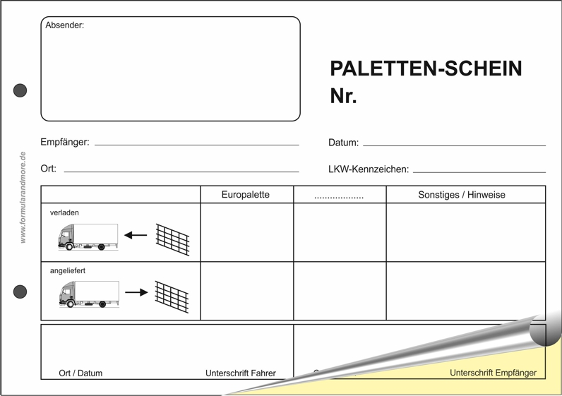 Palettenschein Din A5 Quer Block 11801 10